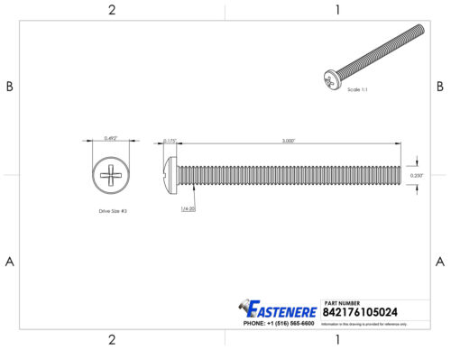 "1//4-20 x 3/"" Pan Head Machine Screws Stainless Steel 18-8 Qty 100"