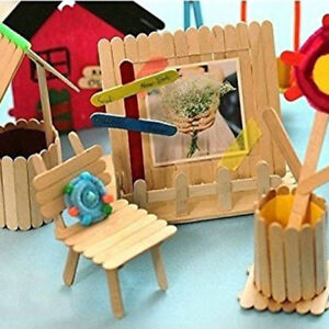 Details About 50pcs Wooden Diy Handmade Lolly Popsicle Ice Cream Sticks Art Crafts Sticks Sa