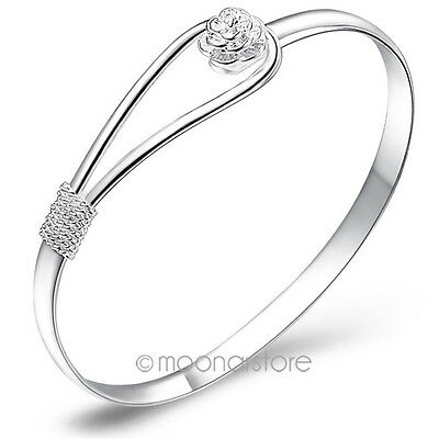 Fashion Women's Bracelet 925 Sterling Silver Plated Bangle Hand Chain Jewelry