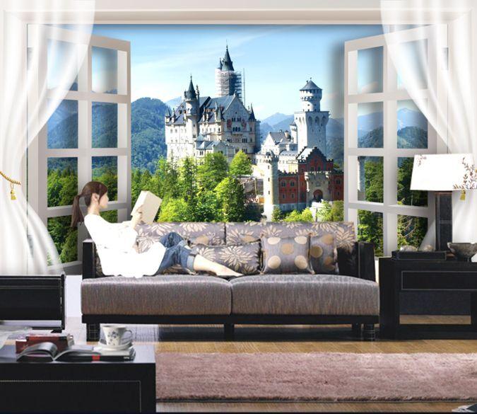 3D Window Castle Peak Paper Wall Print Decal Wall Wall Murals AJ WALLPAPER GB