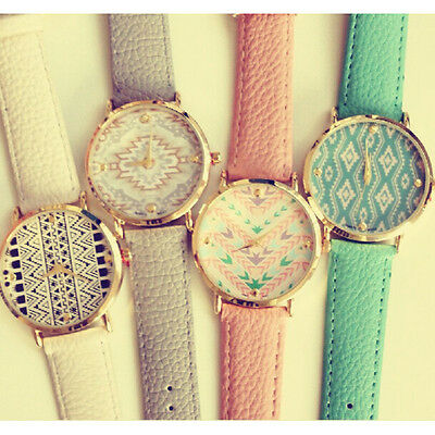 Gothic Women Lady Leather Bracelet Crystal Dial Layers Analog Quartz Wrist Watch