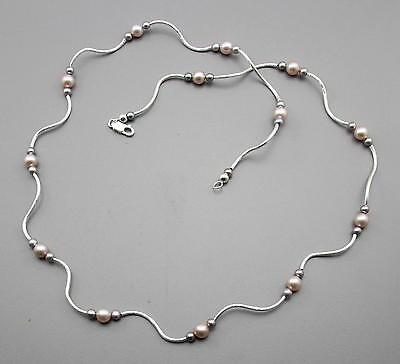 Gutherzig Silberkette Mit Echten Süßwasser-perlen Halskette Für Damen 64 Cm Lang Um Jeden Preis