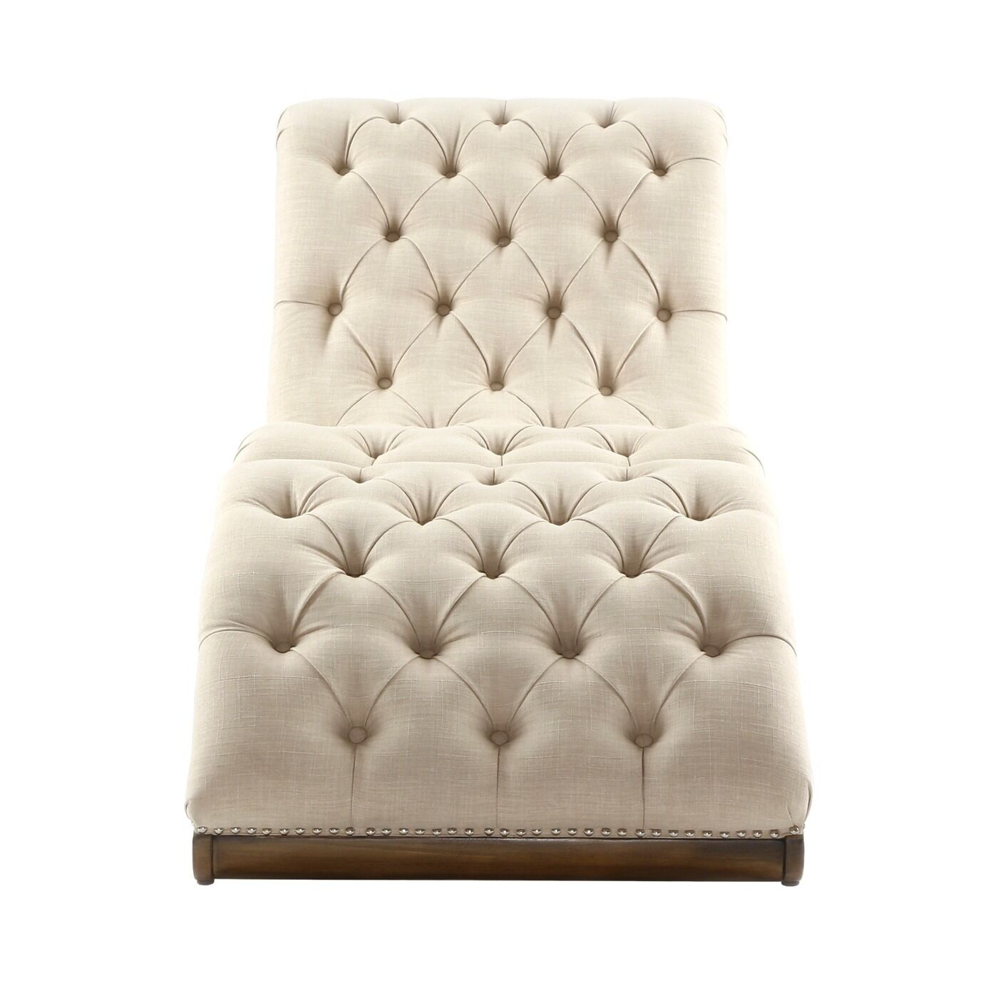 Contemporary Chaise Lounge Sofa: Tufted Chaise Lounge Chair Ottoman Beige Modern Bed