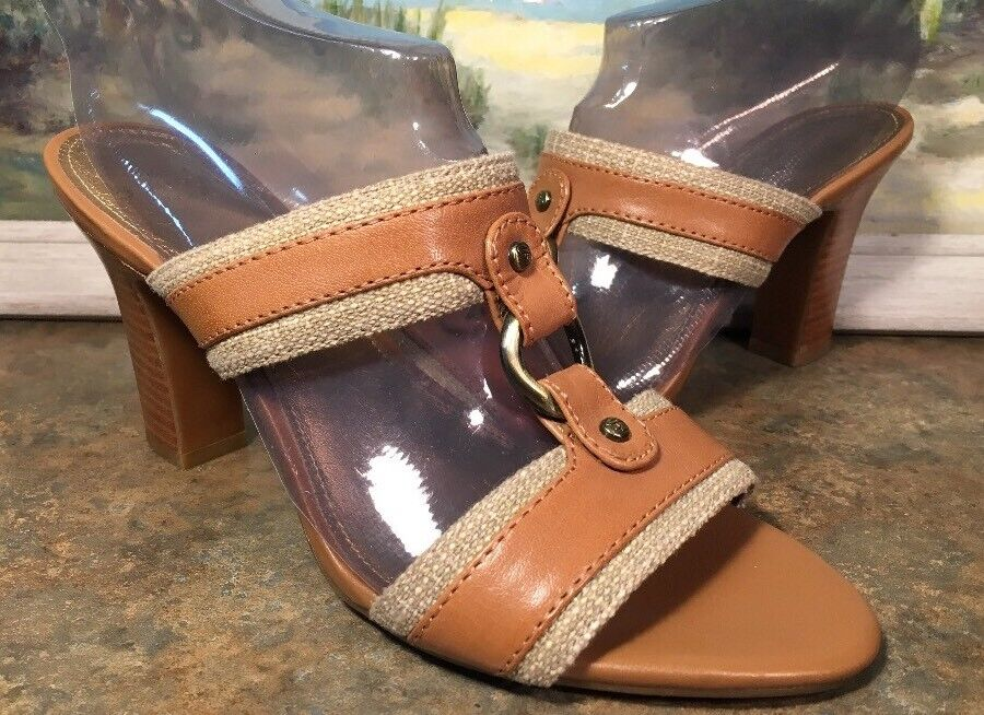 circa joan david toe 8M brown leather open toe david block heel e279e5