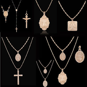 New-Religious-Geometric-Rosary-Cross-Pendant-Chain-Alloy-Necklace-Jewelry-Gifts
