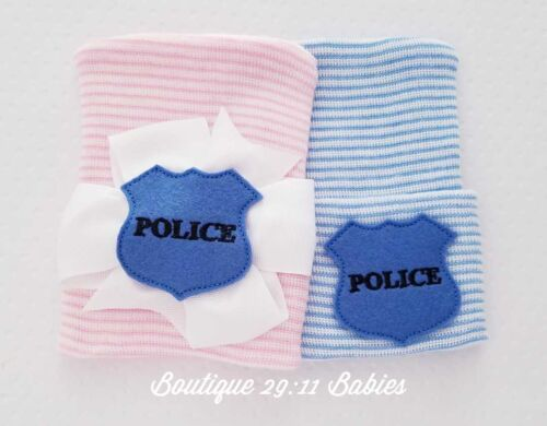 police Newborn Beanie NEW Newborn Hospital Hats Police coming home hat
