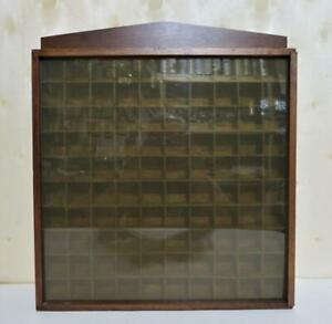 Vtg Wood 100 hole Miniature Wall Display Wood Cabinet Thimble Collectibles Case