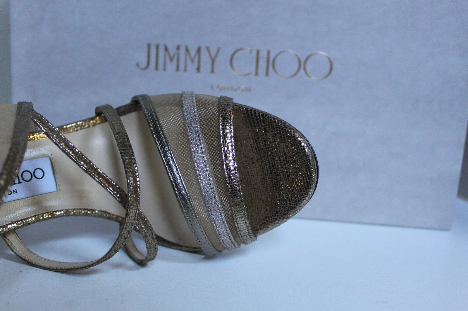 New sz 8   38 Jimmy Choo Visby Bronze Bronze Bronze Metallic Crisscross Ankle Sandal shoes 407c1f