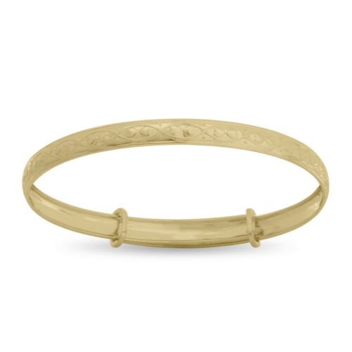 9ct Solid Gold Adjustable Baby Bangle Children/'s Christening Birthday Bracelet