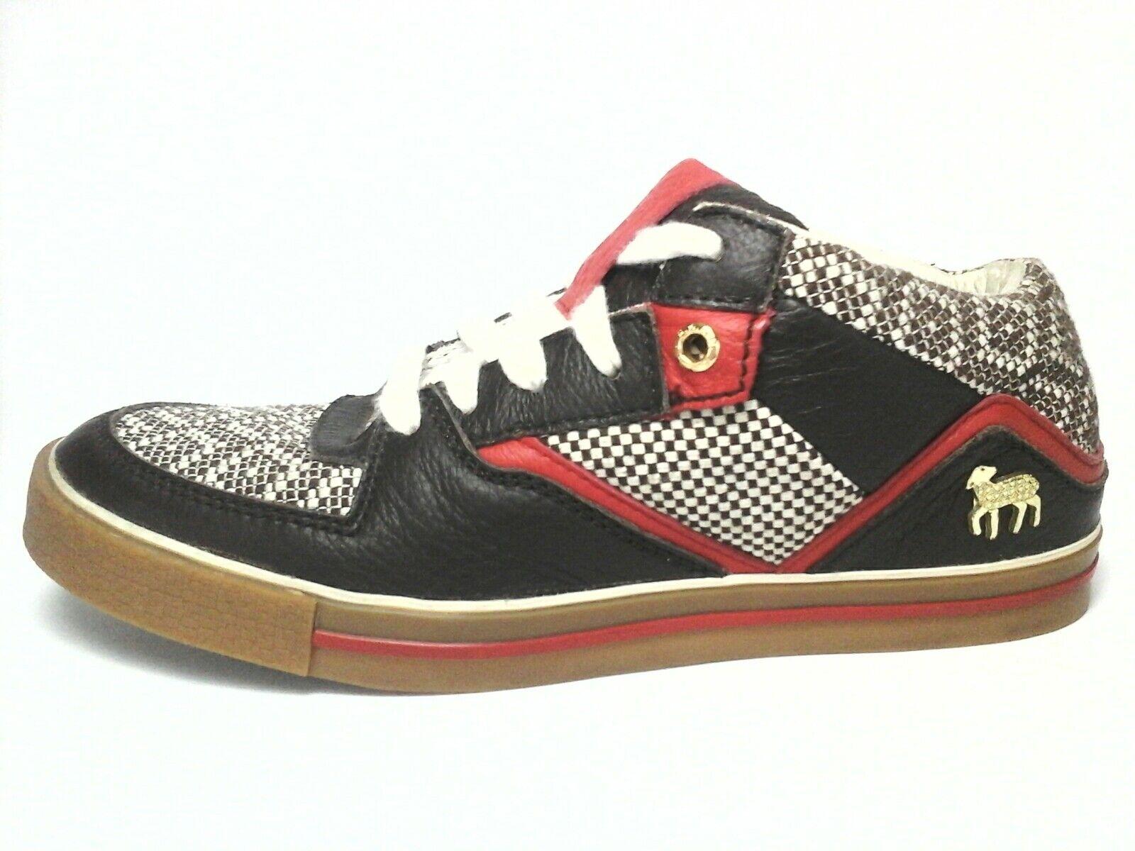L.A.M.B. Zapatos Zapatillas Oxfords marrón rojo Cordero Caza, Suela de goma EE. UU. 8 Reino Unido 6
