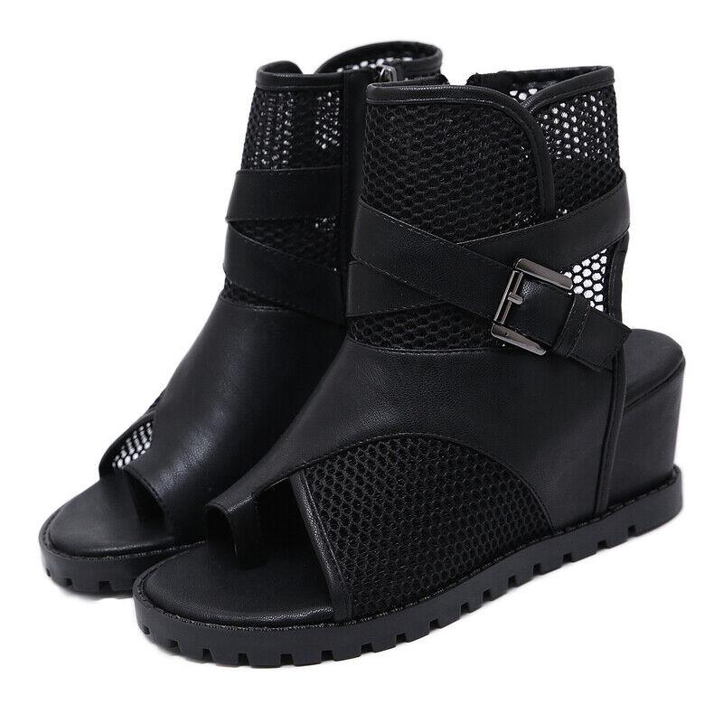 Ciabatte eleganti sandali zeppa infradito 7 cm negro pelle sintetica 1105