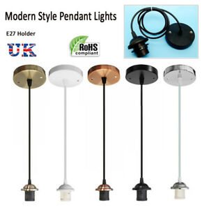 E27-Holder-Ceiling-Rose-Pendant-Light-PVC-Fabric-Flex-Lamp-Fitting-Lighting-Uk