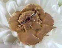 Antique Art Nouveau 14k Gold Clover Maiden Lady Ruby Diamond Watch Pin Brooch