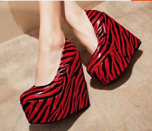 Decolté scarpe donna  rosso nero zeppa tacco 21 cm 15 cm plateau  6 cm  8455