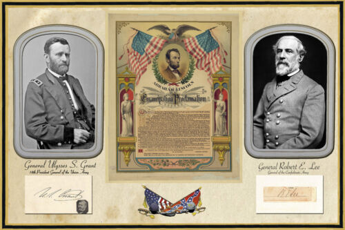 Civil War Poster 2 Autographed photos Grant /& Lee with Emancipation Proclamation