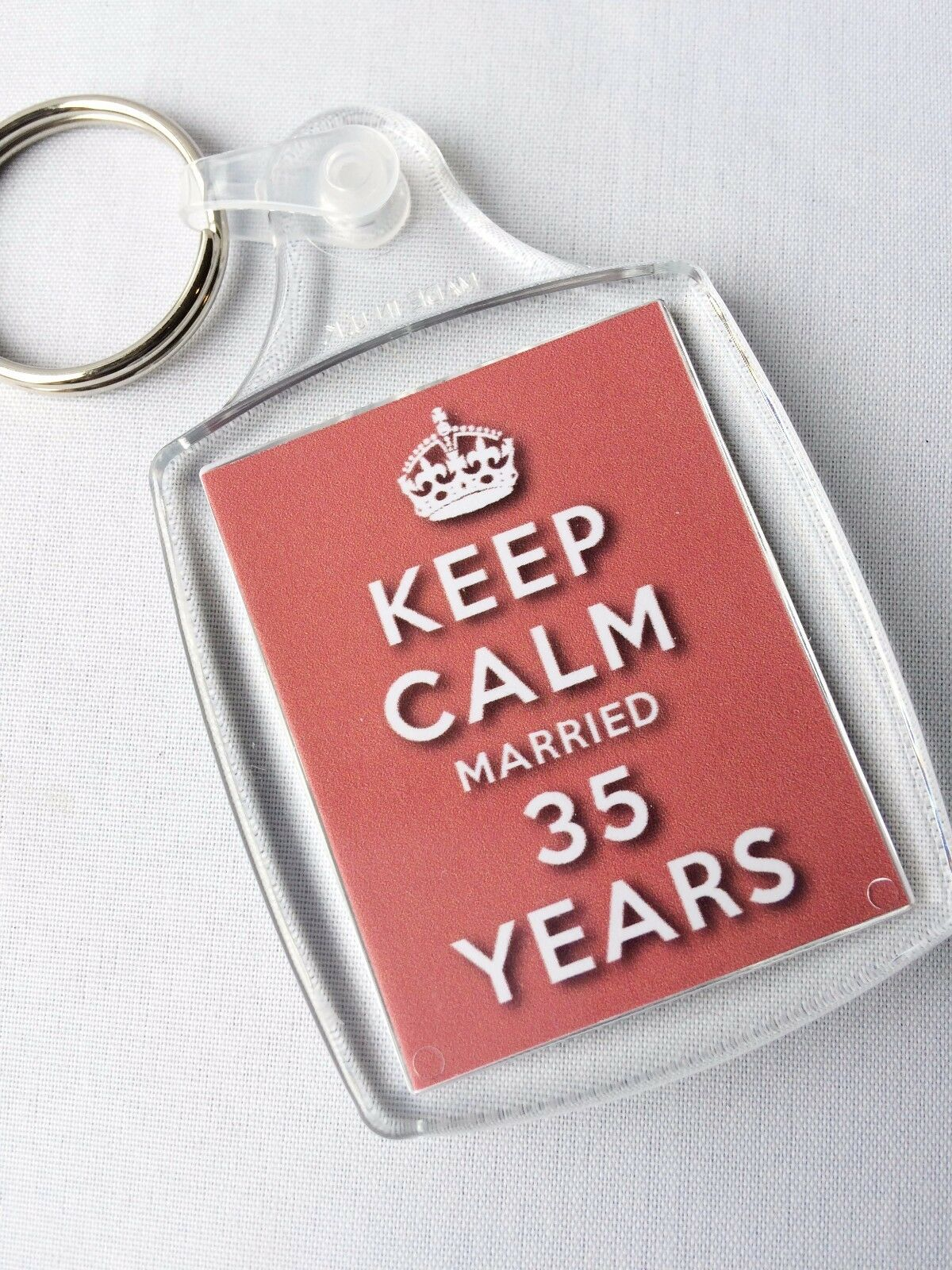 Keep Calm 35th Coral Wedding Anniversary Keyring Married 35 Years | eBay