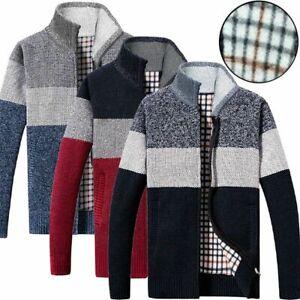Mens Knitted Warm Winter Jumper Jacket Zip Up Cardigan Sweater Fleece Lined Coat