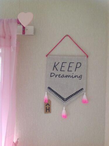 """/""""keep dreaming/"""" Mur Drapeau Fanion Shabby Chic Chambre À Coucher Décoration Girlie Cadeau Nouveau"""