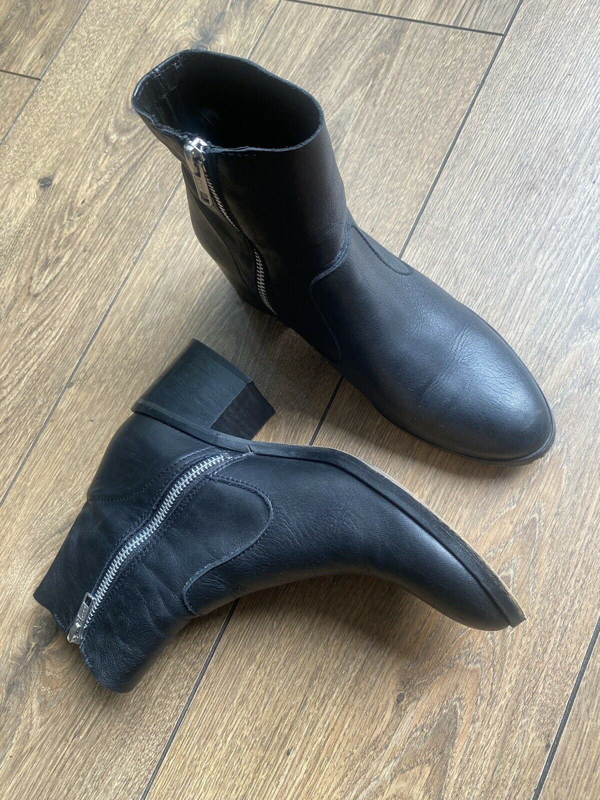 Vgc Topshop Black Leather Silver Zip Chelsea Ankle Boots 5 38