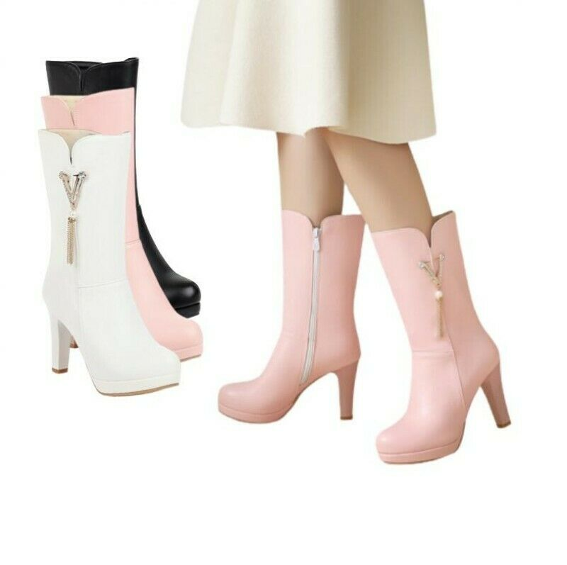Women Outdoor Rhinestone Glitter Round Toe Block Heel Mid Calf Knight Boots D