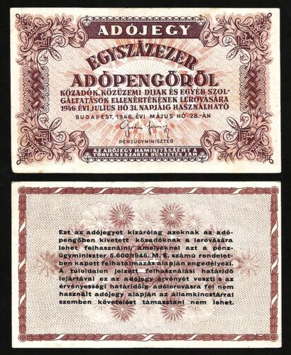 HUNGARY EGYSZAZEZER 100000 100.000 ADOPENGO 1946 aXF P-144e WHITE PAPER W//O WMK