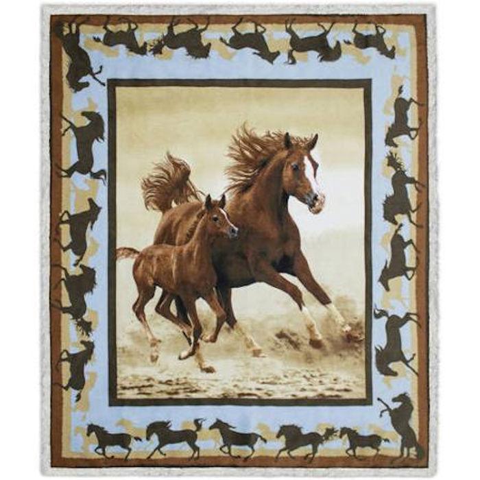HORSE & WESTERN HOME DECOR TRAVEL REVERSIBLE SHERPA HORSE BLANKET THROW