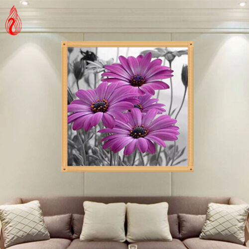5D Full Diamond Painting DIY Embroidery Flower Lilac Daisies Cross Stitch Mosaic
