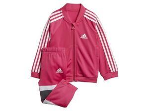 Details about Adidas Infant Girls Shiny Tracksuit Kids children Full Set DJ1586 REAL MAGENTA