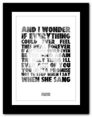 ❤ FOO FIGHTERS Everlong  ❤ lyric typography poster art print A1 A2 A3 or A4 #2
