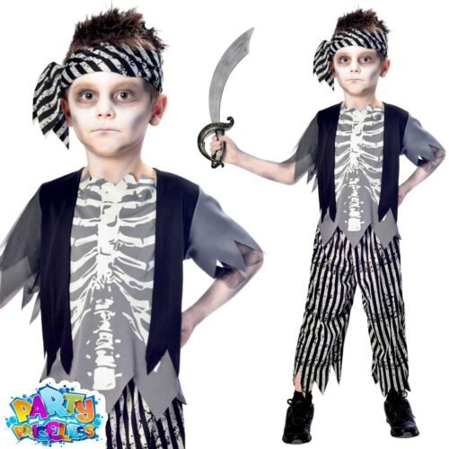 Kids Zombie Pirate Costume Halloween Child Fancy Dress Girls Boys Outfit