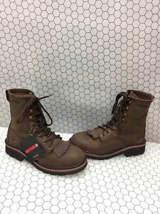 Wolverine-RANCHERO-LACER-8-Brown-Leather-Lace-Up-Work-Boots-Men-s-Size-7-5-EW