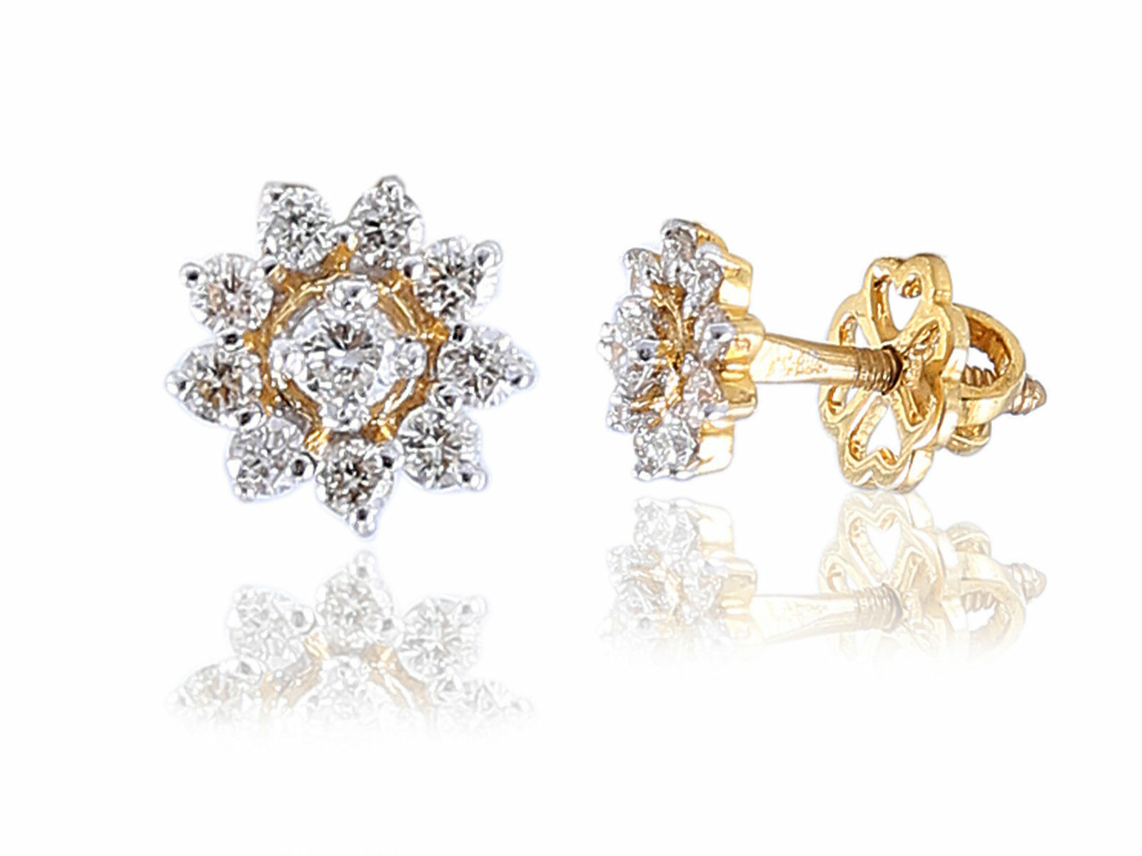 Classy 0.54 Cts Natural Diamonds Stud Earrings In Fine Certified 14K Yellow gold