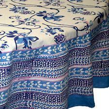 "Unique Handmade Royal Floral Block Print 100% Cotton Tablecloth 72"" Round Blue"