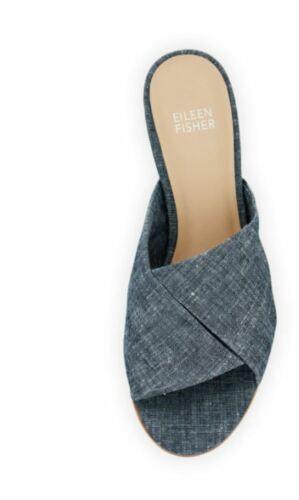 6.5 7 7.5 8.5 10 Eileen Fisher Ruche Chambray Denim Blue Slide Sandals Shoes 6
