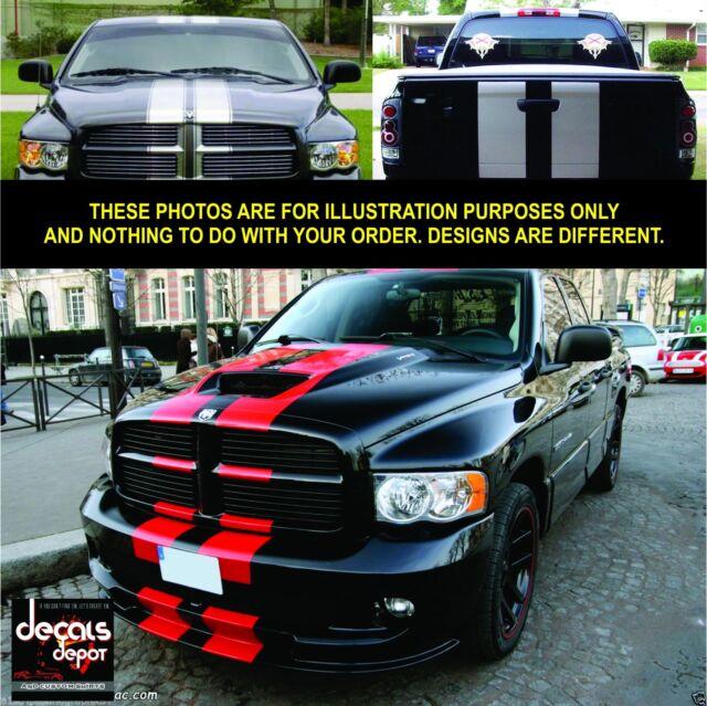 Vinyl Decal Dual Rally Stripes DODGE Ram 1500, 2500HD, 3500HD Complete Set 3 pc