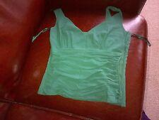 Monsoon 93% silk green top vest UK size 10