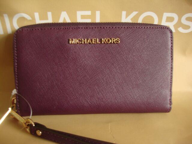 a4d67ee79bf9f New Michael Kors Saffiano Jet Set Travel Zip wristlet wallet Leather Dawson