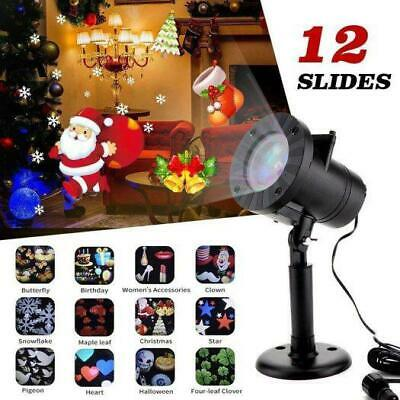 12 Patterns Moving IP65 LED Laser Projector Light Xmas Party Deco Show Base US