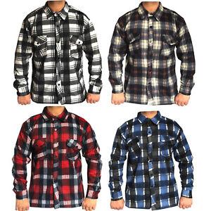TERMICA-Da-Uomo-in-pile-pettinato-morbido-Check-Camicia-Lumberjack-Camicia-causale-caldo-piano-di