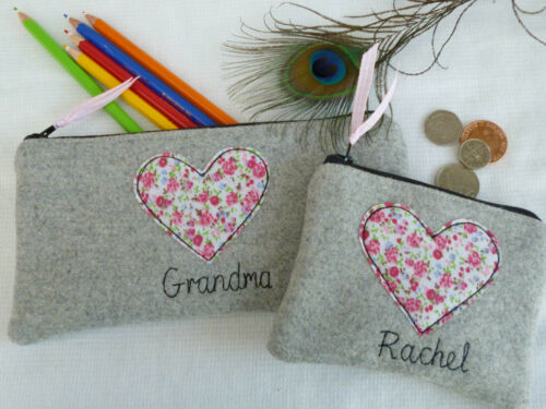Personalised Heart Coin Purse or Pencil Case Choice of Name Anniversary Gift
