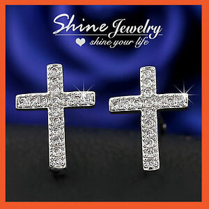 SHINE 9K GF Crucifix Stud Earrings
