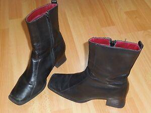 sur Vintage cuir carré noir90 Détails Bottines Stylebout redBCxo
