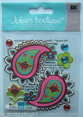 ~PAISLEY PATCHES~ Jolee's Boutique Dimensional Stickers; Bright Pink Designs