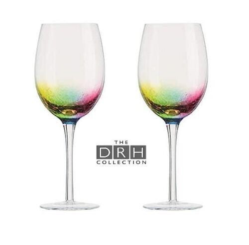 Artland Néon Ensemble de 2 verres à vin Verre à pied en verre effet craquelé 550 ml