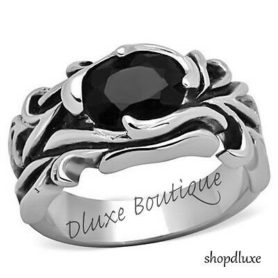 MEN'S OVAL CUT JET BLACK CZ SILVER STAINLESS STEEL BIKER GOTHIC RING SIZE 8-13