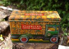 Starbuck Coffee Company Metal Tin Bean Burlap Truck Seattle England Silver Crane
