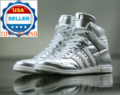 """1//6 Scale Sneakers Shoes SILVER For 12/"""" Phicen Hot Toys Female Figure ❶USA❶"""