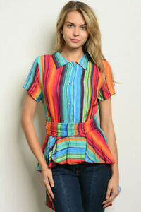 New-Colorful-USA-Boho-Boutique-Stripe-Hi-Low-Western-Tie-Back-Tunic-Blouse-S-L