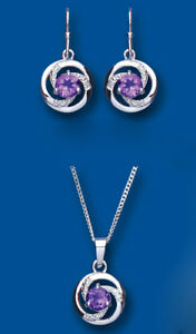 Diamond-and-Amethyst-Set-Pendant-and-Drop-Earrings-Solid-Sterling-Silver