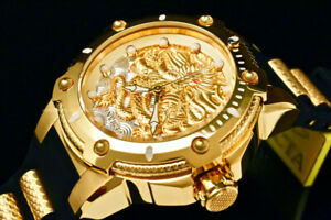 NEW-Invicta-Men-52MM-BOLT-DRAGON-Automatic-18-K-Gold-Plated-S-S-Poly-Strap-Watch